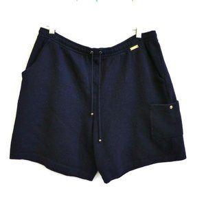 St John Shorts Navy Santana Knit Gold Hardware L
